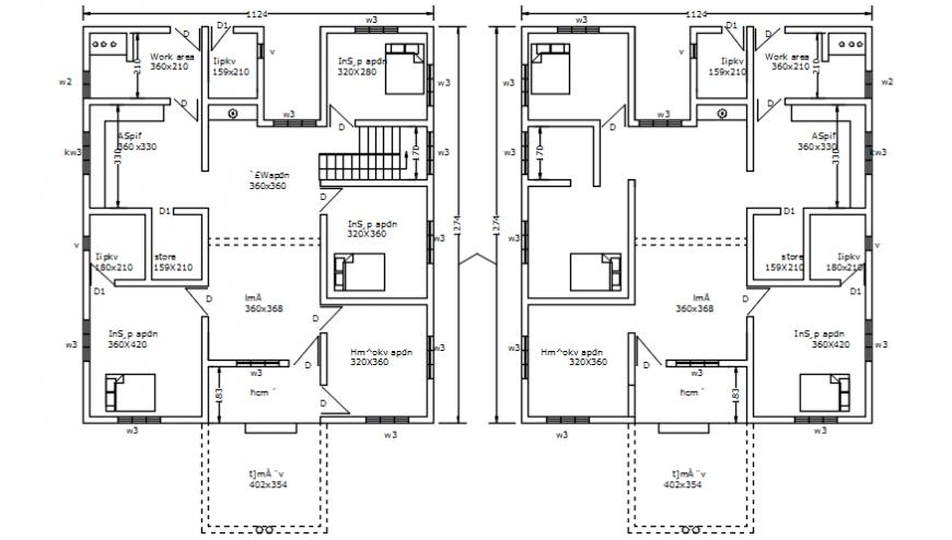 Residential building floor plan
