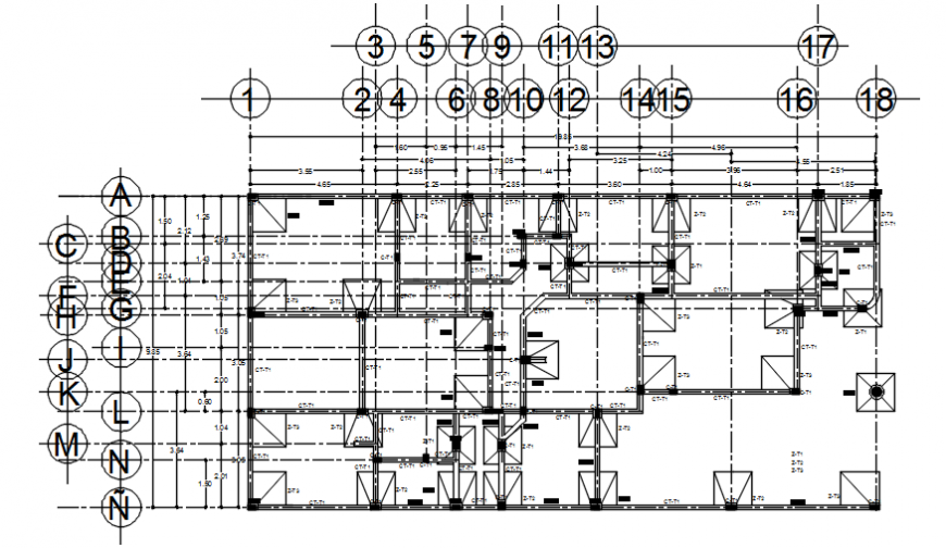 Residential building floor plan with all the structural details