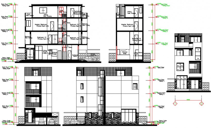 Residential building main and back elevation and section and side section drawing details dwg file