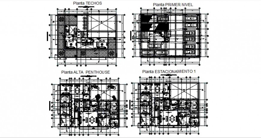 Residential building with pent house floor plan distribution cad drawing details dwg file