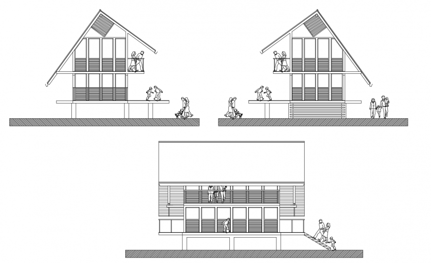 Residential bungalow all sided elevation cad drawing details dwg file