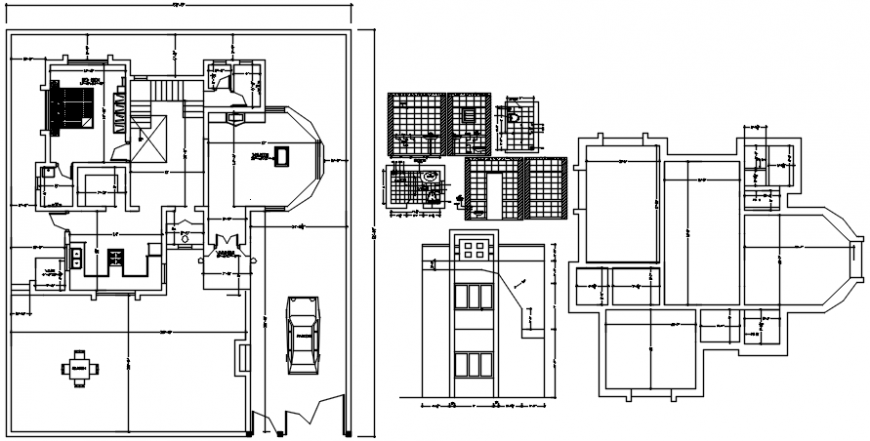 Residential bungalow elevation, plan and toilet cad drawing details dwg file