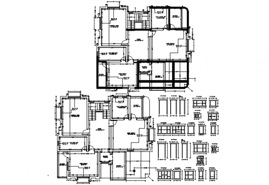 Residential bungalow floor plan and doors and windows details dwg file