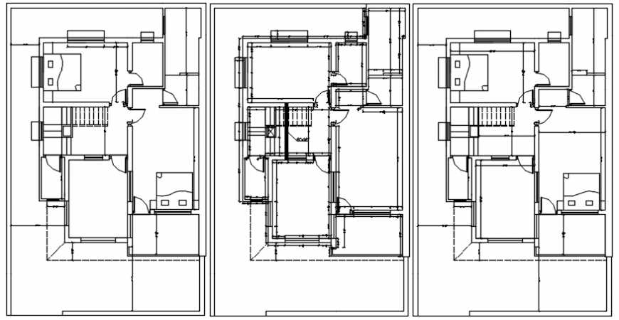 Residential bungalow floor plan distribution 2d drawing details dwg file