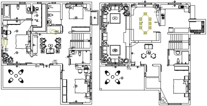 Residential bungalow floor plan distribution drawing details dwg file