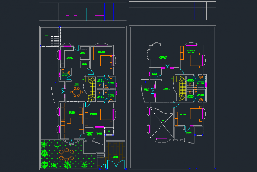 Residential bungalow ground and first floor layout plan drawing details dwg file