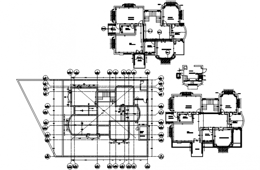 Residential bungalow layout plan, cover plan and structure details dwg file