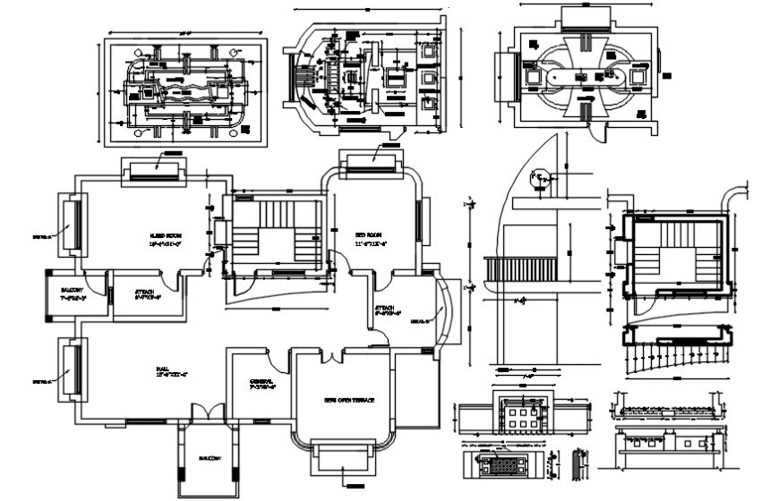 Residential bungalow layout plan and ceiling interior details dwg file