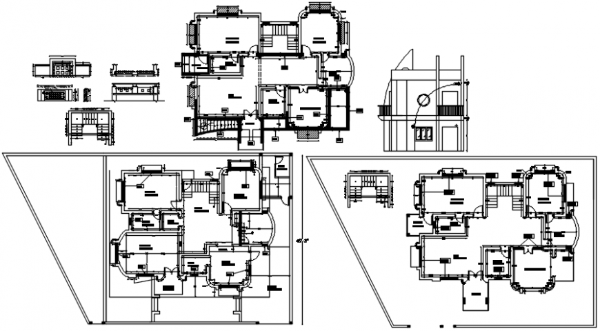 Residential bungalow main elevation, floor plan distribution and structure auto-cad drawing details dwg file