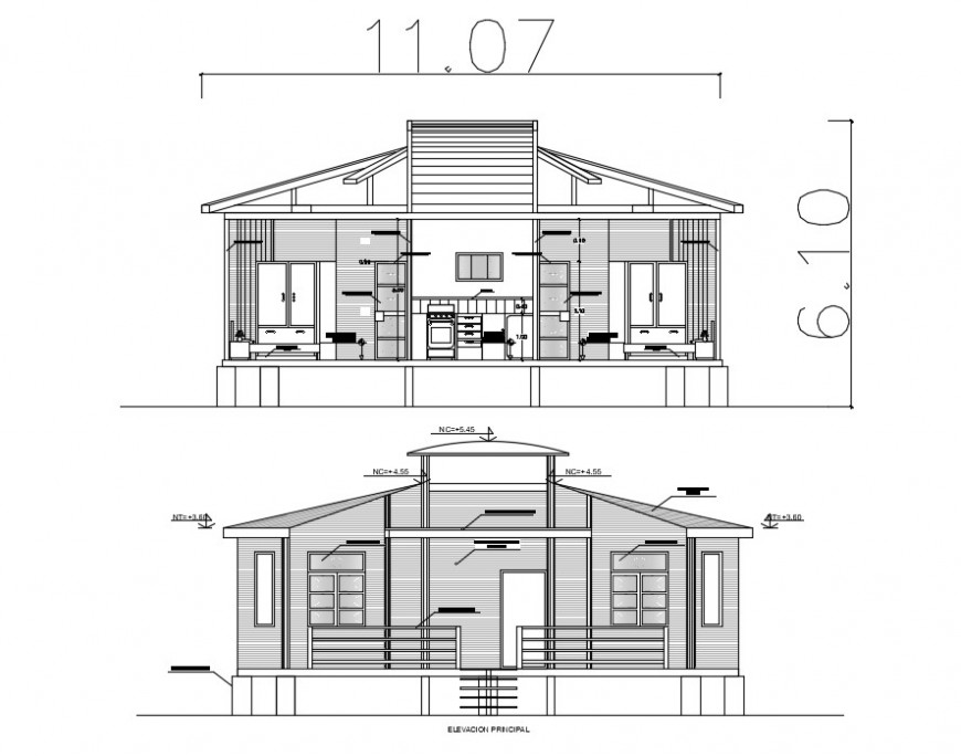 Residential bungalow main elevation and section 2d drawing details dwg file