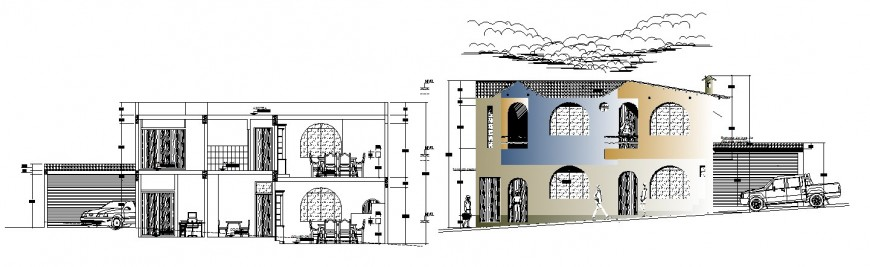 Residential bungalow main elevation and section cad drawing details dwg file