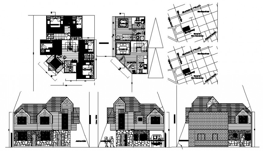 Residential bungalow plan and elevation 2d drawing in Autocad