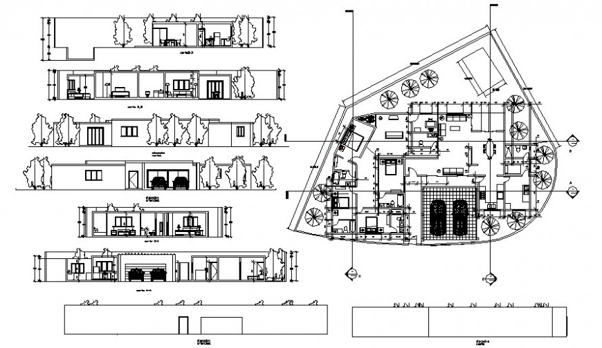 Residential bungalow plan elevation and section drawing autocad file