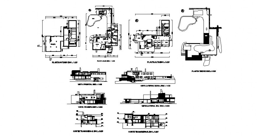 Residential bungalow three story elevation, section and floor plan cad drawing details dwg file