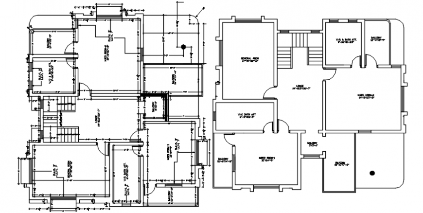 Residential bungalow two floor distribution plan cad drawing details dwg file