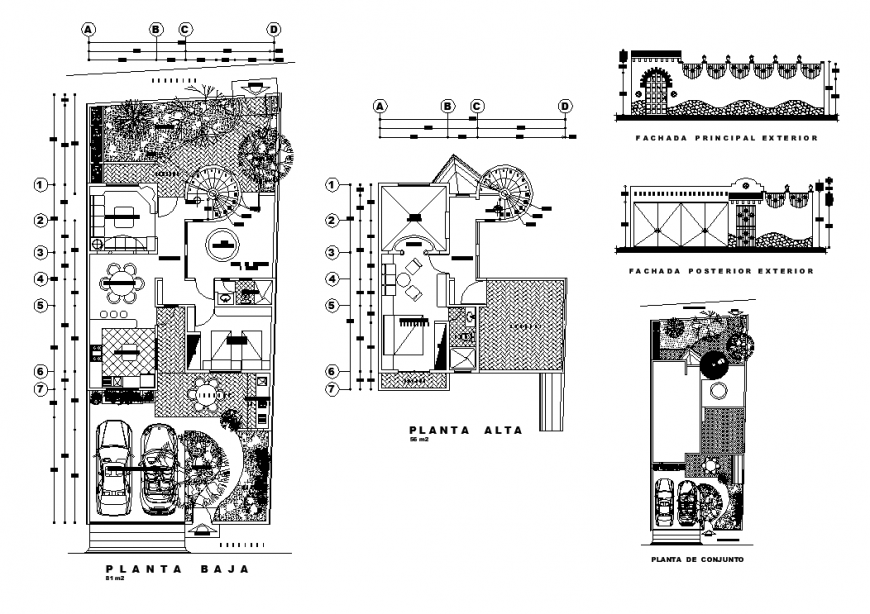 Residential bunglow detail elevation and plan view dwg file