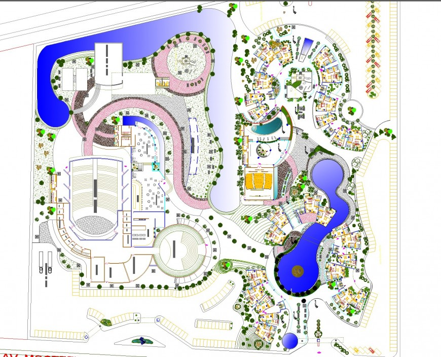Residential complex plan detail dwg file