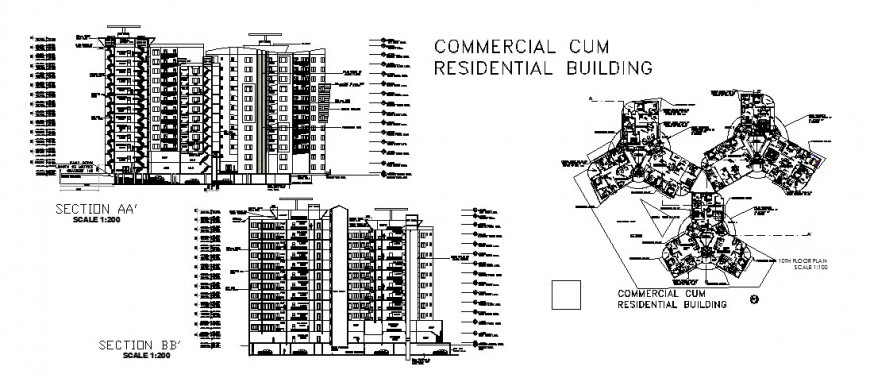 Residential cum commercial building front and back section and plan cad drawing details dwg file