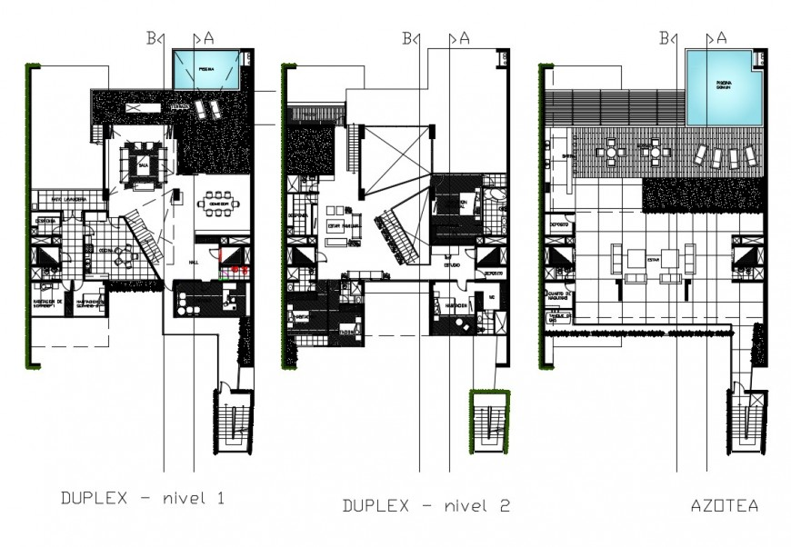 Residential duplex house floor plan cad drawing details dwg file