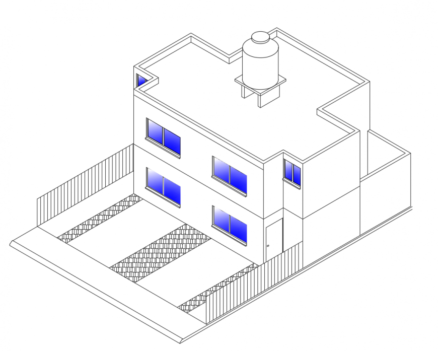 Residential duplex house isometric elevation cad drawing details dwg file