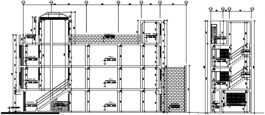 Residential flat multi-level building main and side section cad drawing details dwg file