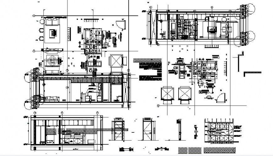 Residential flat sample all sided section, plan and structure details dwg file