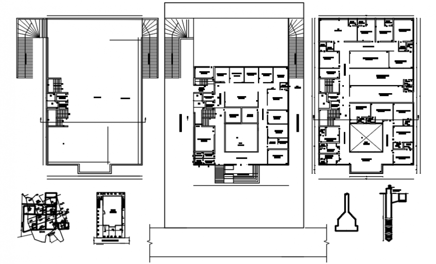 Residential flats building floor plan and structure drawing details dwg file