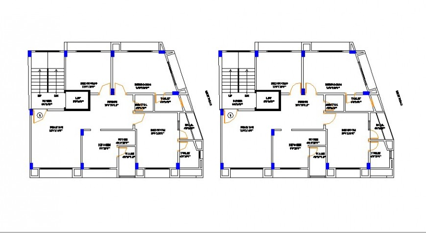 Residential flats building floor plan distribution cad drawing details dwg file