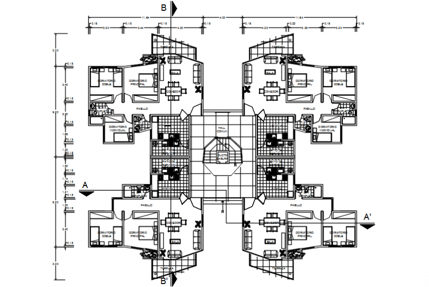 Residential flats first floor distribution with furniture cad drawing details dwg file