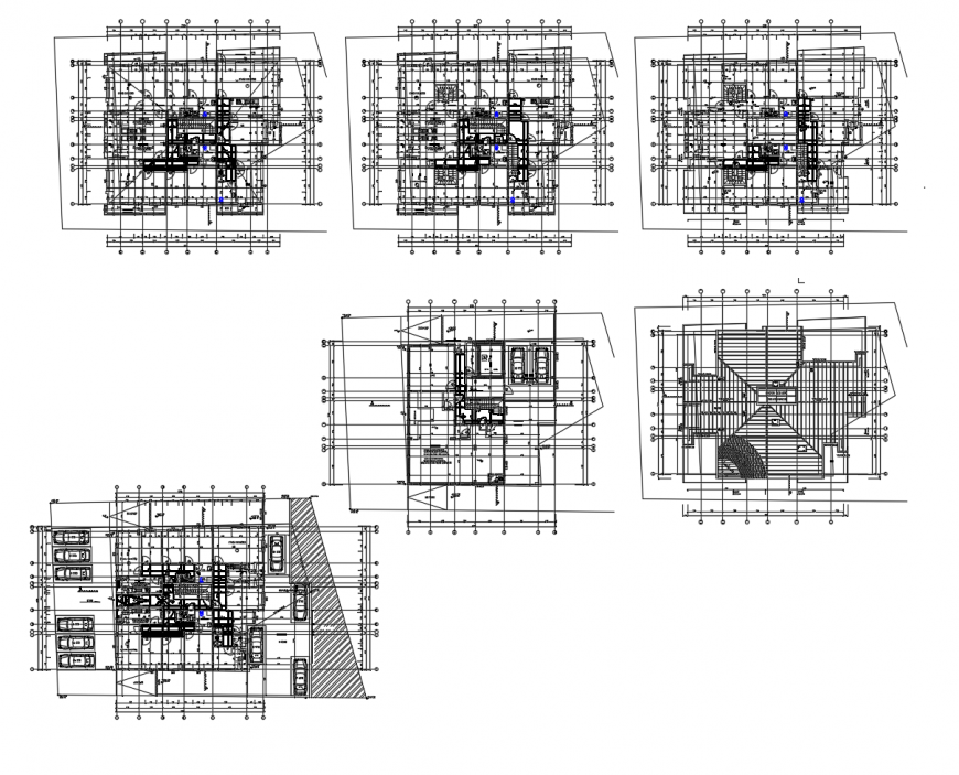 Residential flats floor plan and cover plan cad drawing details dwg file