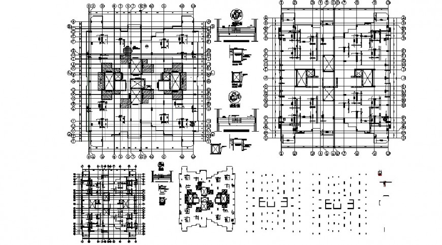 Residential flats foundation plan, cover plan and structure details dwg file