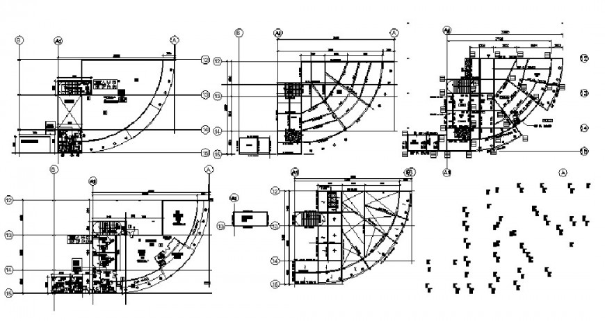 Residential flats framing plan structure, plan and roof structure details dwg file