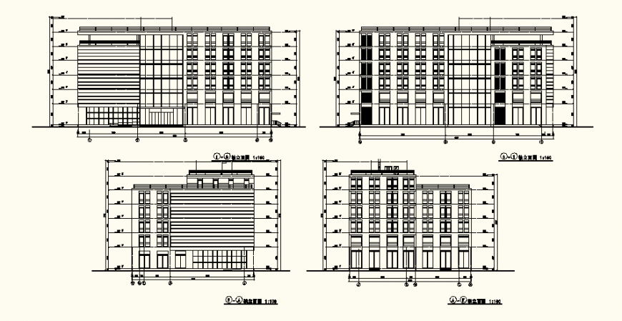 Residential high rise building detail plan and elevation layout file