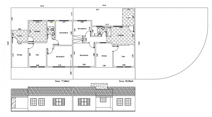 Residential Home Plan & side view Elevation