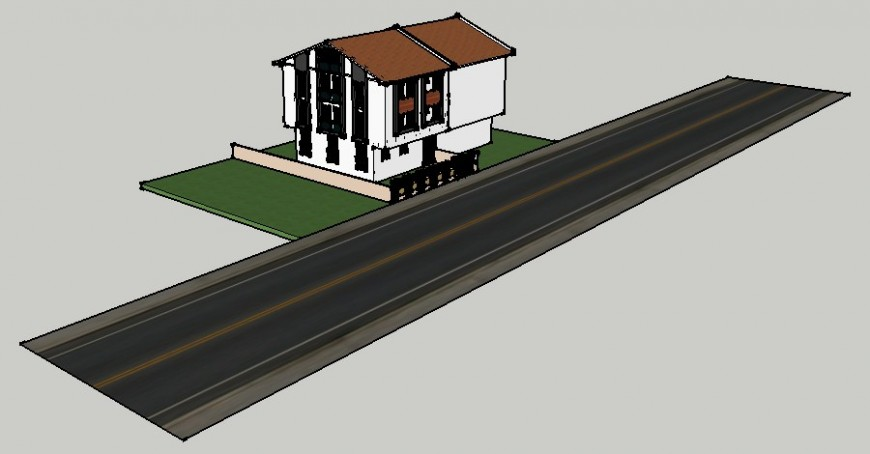 Residential house 3d model drawings sketch-up file