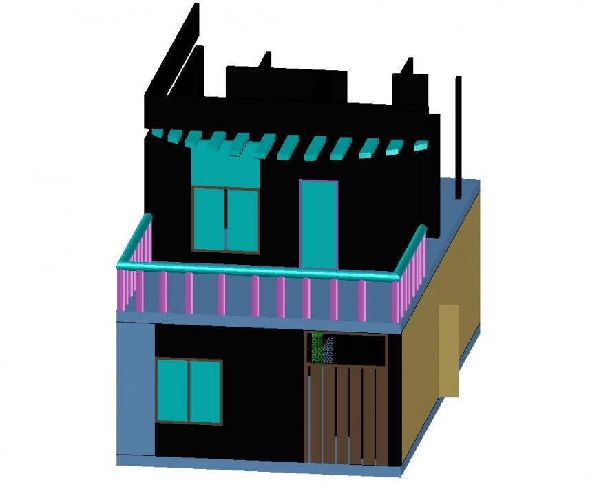 Residential house 3d model side elevation cad drawing details dwg file