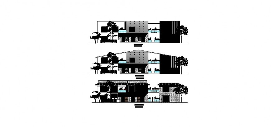 Residential house all sided elevation auto-cad drawing details dwg file