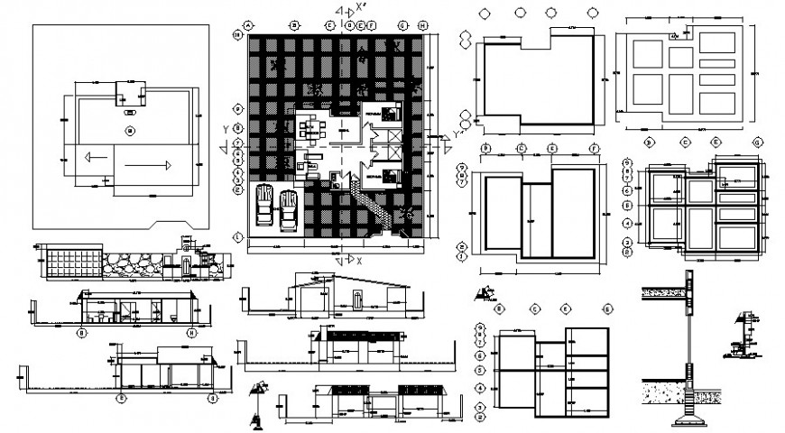 Residential house all sided section, plan and structure drawing details dwg file