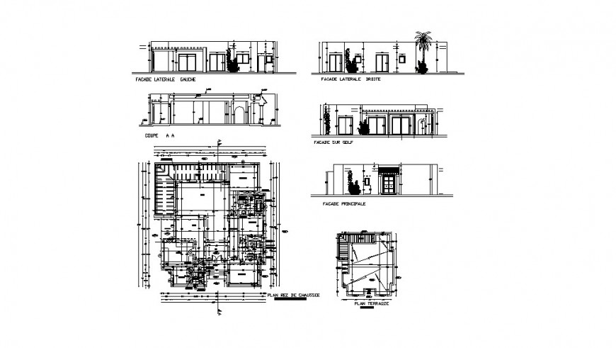 Residential house all sided section and plan cad drawing details dwg file
