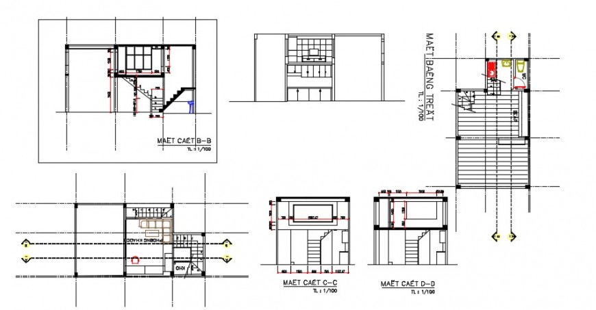 Residential house all sided section and structure drawing details dwg file