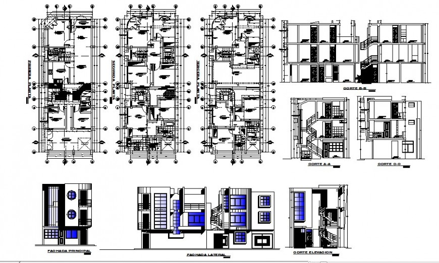 Residential house building all sided elevation, section and plan details dwg file