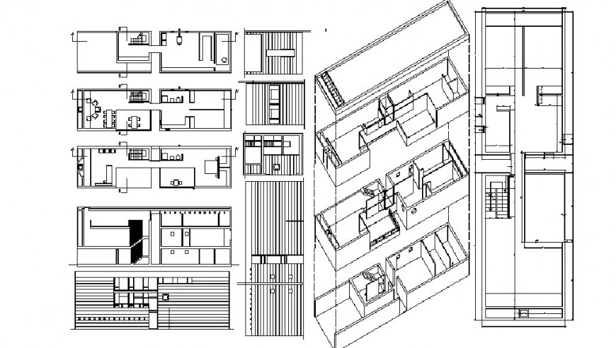 Residential house building elevation, section and floor plan details dwg file