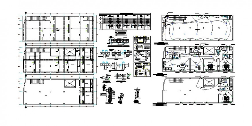 Residential house cover plan, structure and electrical installation details dwg file