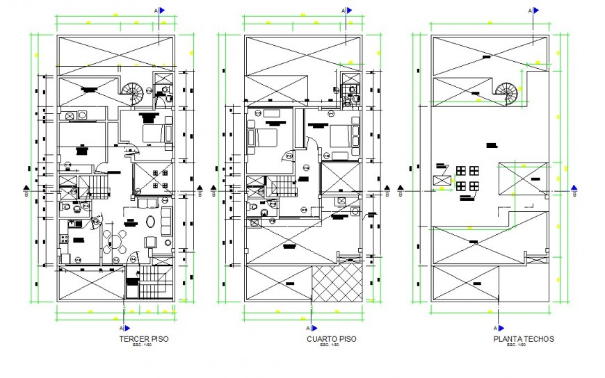 Residential house detail 2d view layout plan in autocad forma