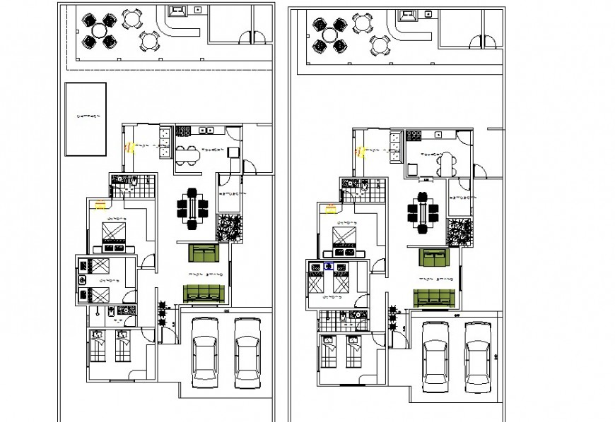 Residential house detail 2d view layout plan in Autocad format