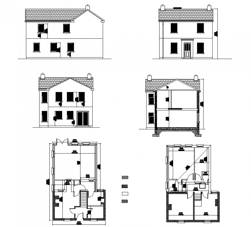 Residential house detail plan and elevation 2d view layout file in dwg format