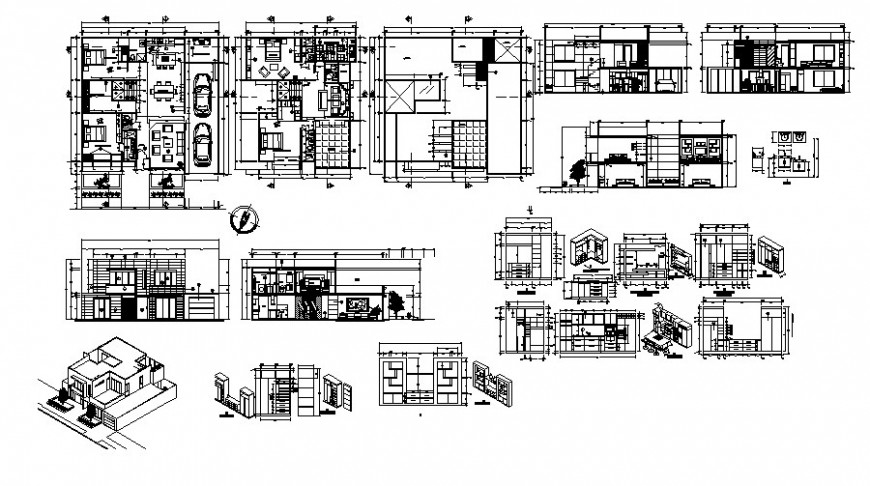 Residential house drawings detail 2d view plan elevation and section autocad file