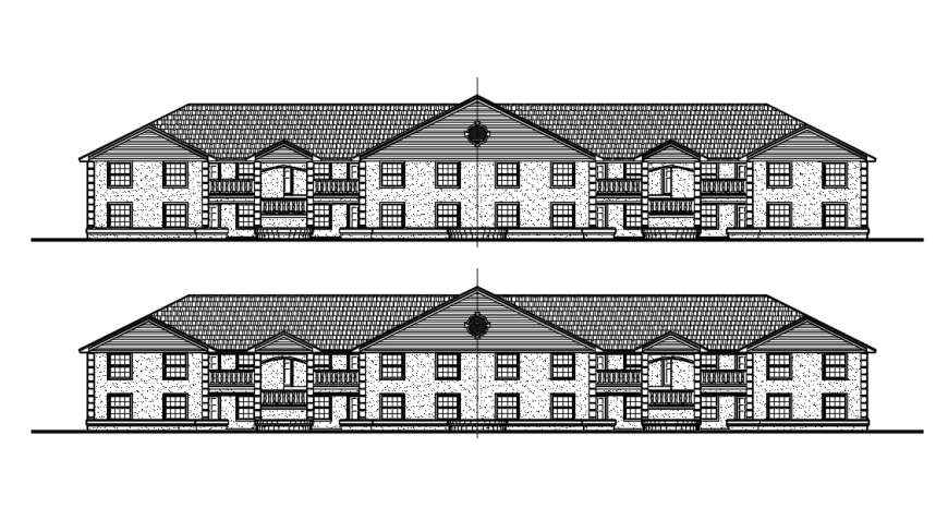 Residential House Elevation Detail in Autocad drawing