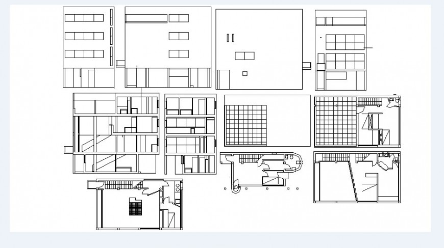 Residential house elevations, floor plan, furniture and interior details dwg file