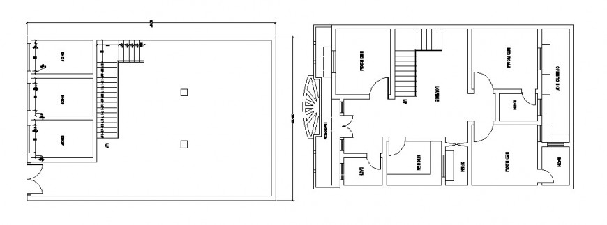 Residential house floor plan and cover plan 2d drawing details dwg file